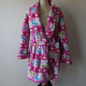 Hello Kitty Robe Medium Pink Plush Soft w/ Belt